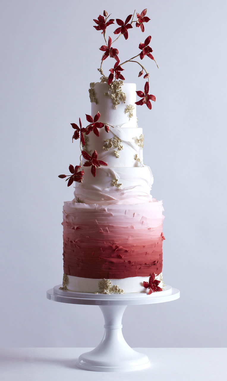 white red ombre 4 tier red floral wedding cake (24) mv