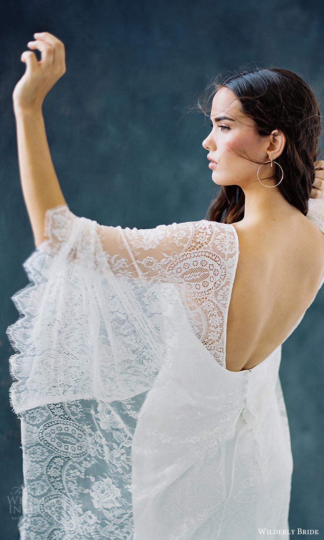 4e5fbb999 wilderly bride 2018 bridal trends v neck flutter sleeves sheath lace  wedding dress (opal)