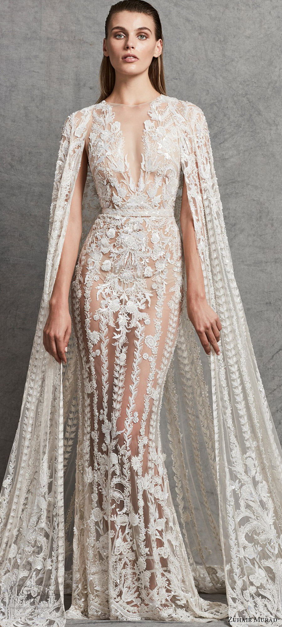 zuhair murad 2018 bridal trends sleeveless deep v neck lace wedding dress (1) mv cape dramatic elegant