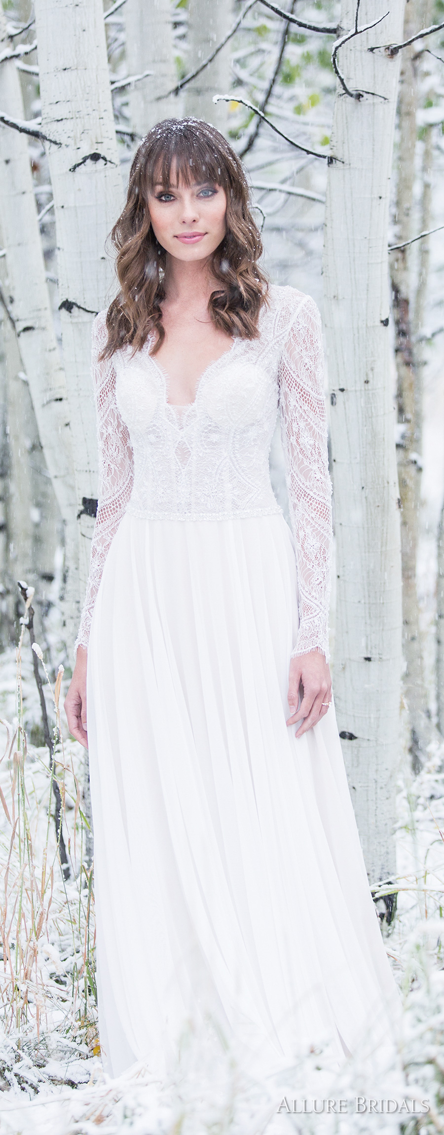 allure bridals 2018 long sleeves deep sweetheart neckline heavily embellished bodice bohemian romantic soft a  line wedding dress covered lace back medium train (9515) mv