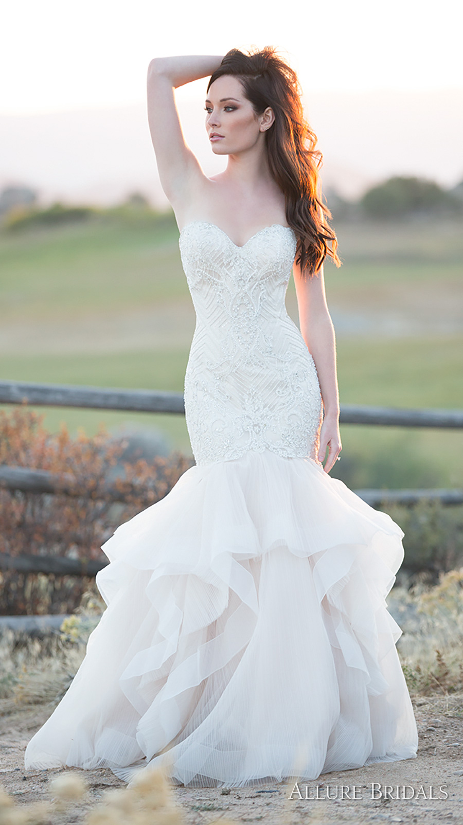 allure bridals 2018 strapless sweetheart neckline heavily embellished bodice elegant romantic mermaid wedding dress chapel train (c491) mv