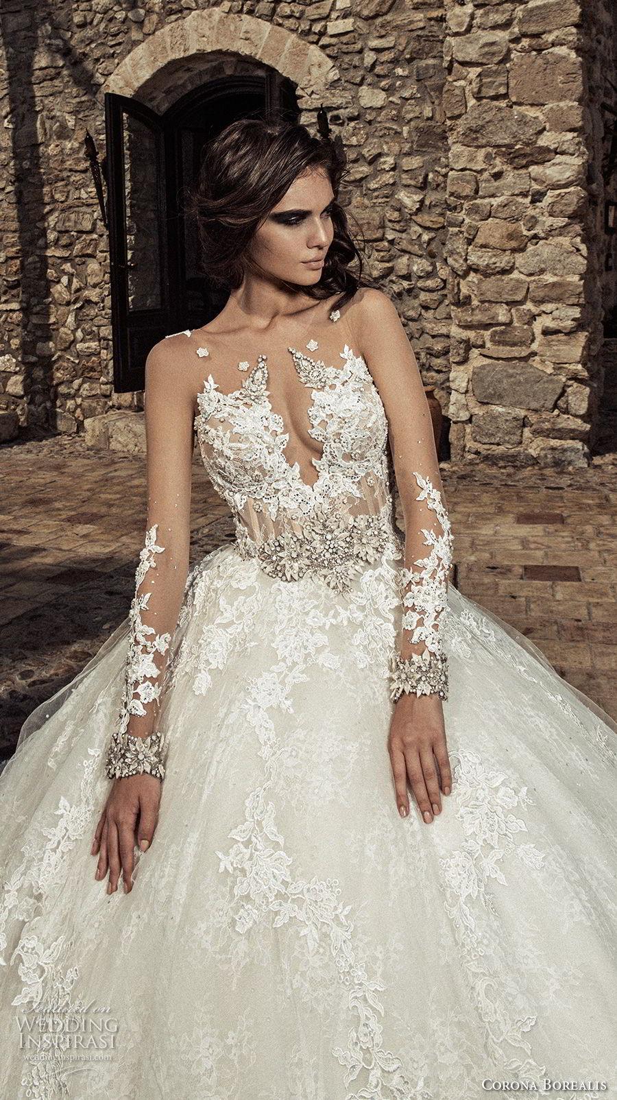 corona borealis 2018 bridal long sleeves illusion jewel deep plunging sweetheart neckline full embellishment glamorous princess ball gown wedding dress sheer rasor back chapel train (10) zv