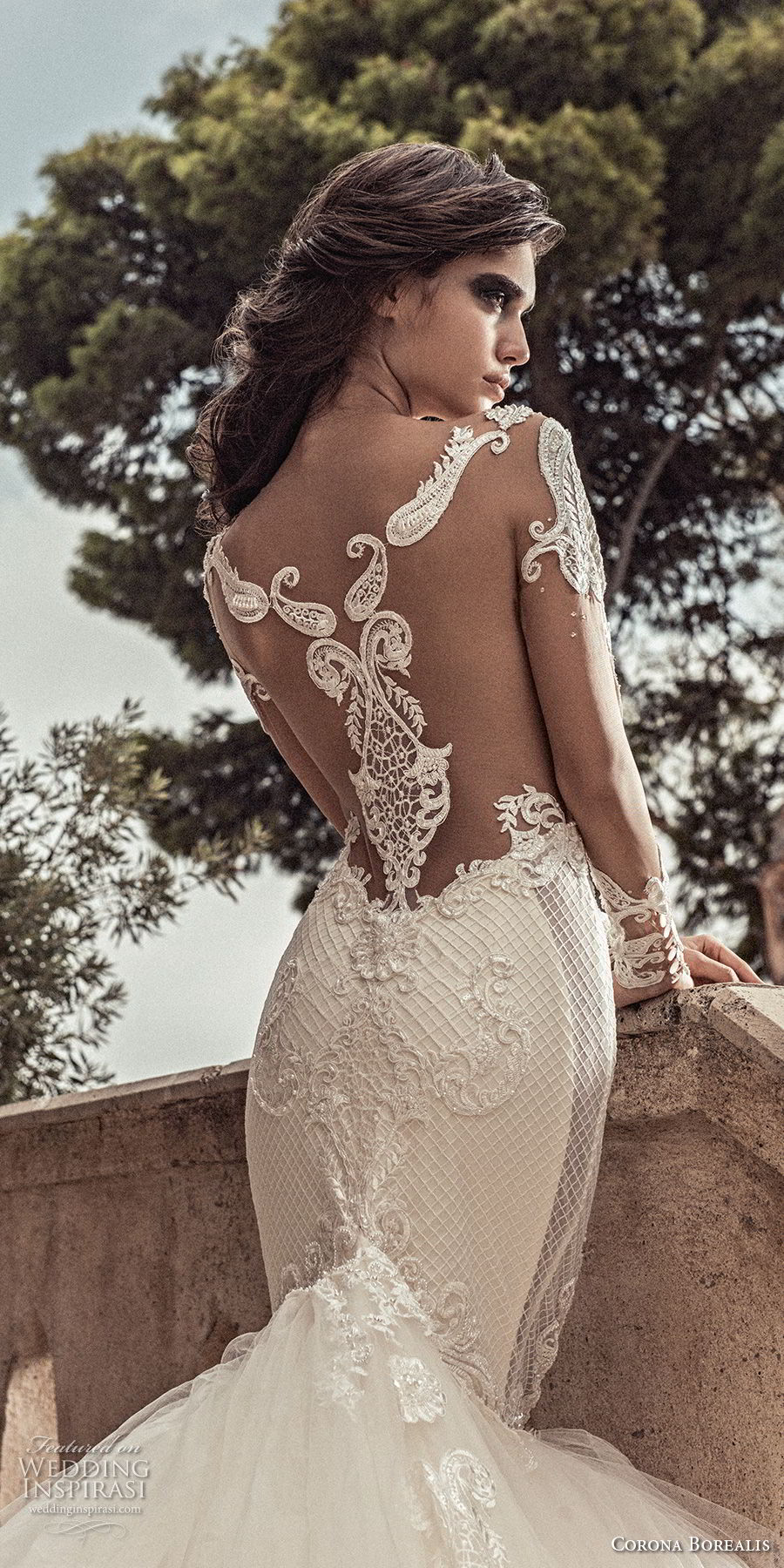 corona borealis 2018 bridal long sleeves illusion jewel neck deep plunging sweetheart neckline full embellishment princess mermaid wedding dress sheer lace back royal train (4) zbv