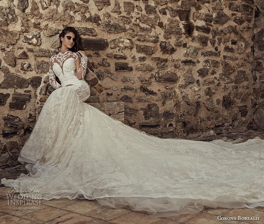 corona borealis 2018 bridal long sleeves illusion sweetheart neckline full embellishment glamorous fit and flare wedding dress sheer button back royal train (7) mv