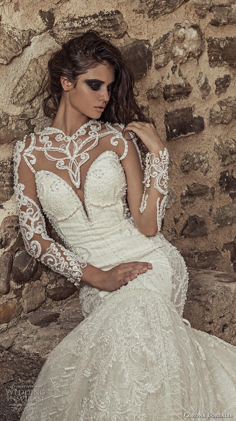 corona borealis 2018 bridal long sleeves illusion sweetheart neckline full embellishment glamorous fit and flare wedding dress sheer button back royal train (7) zv