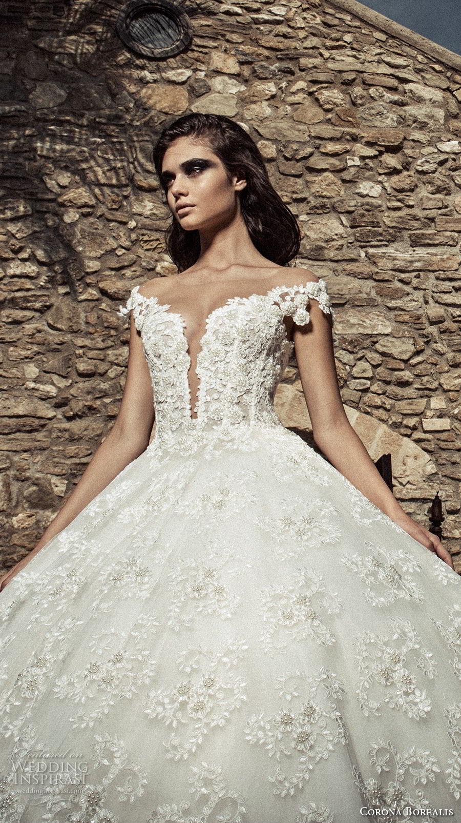 corona borealis 2018 bridal off the shoulder deep plunging sweetheart neckline full embellishment open back royal train (1) zv