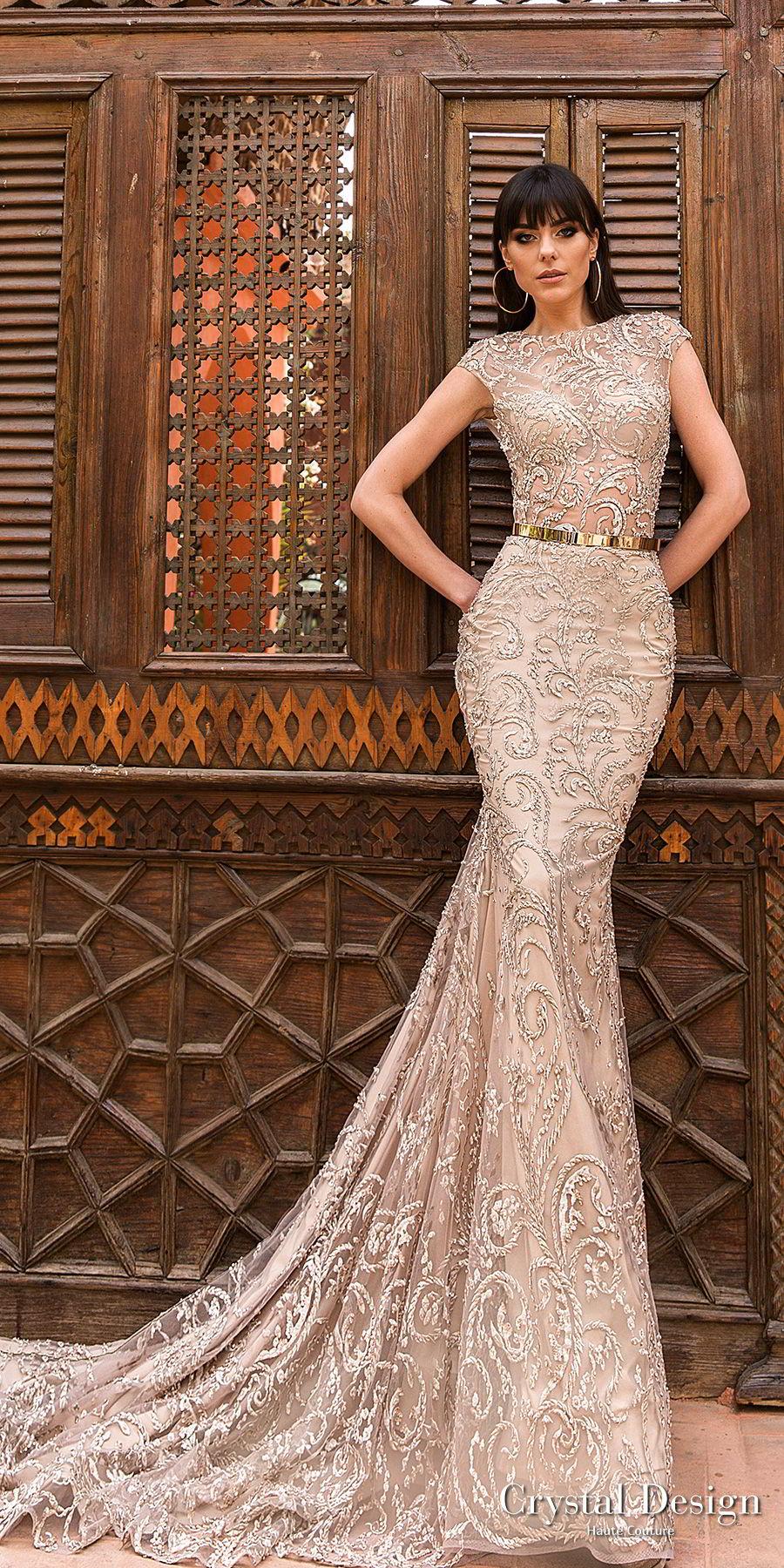 crystal design 2018 cap sleeves bateau neck full embellishment elegant glamour fit and flare sheath wedding dress keyhole back medium train (space) mv