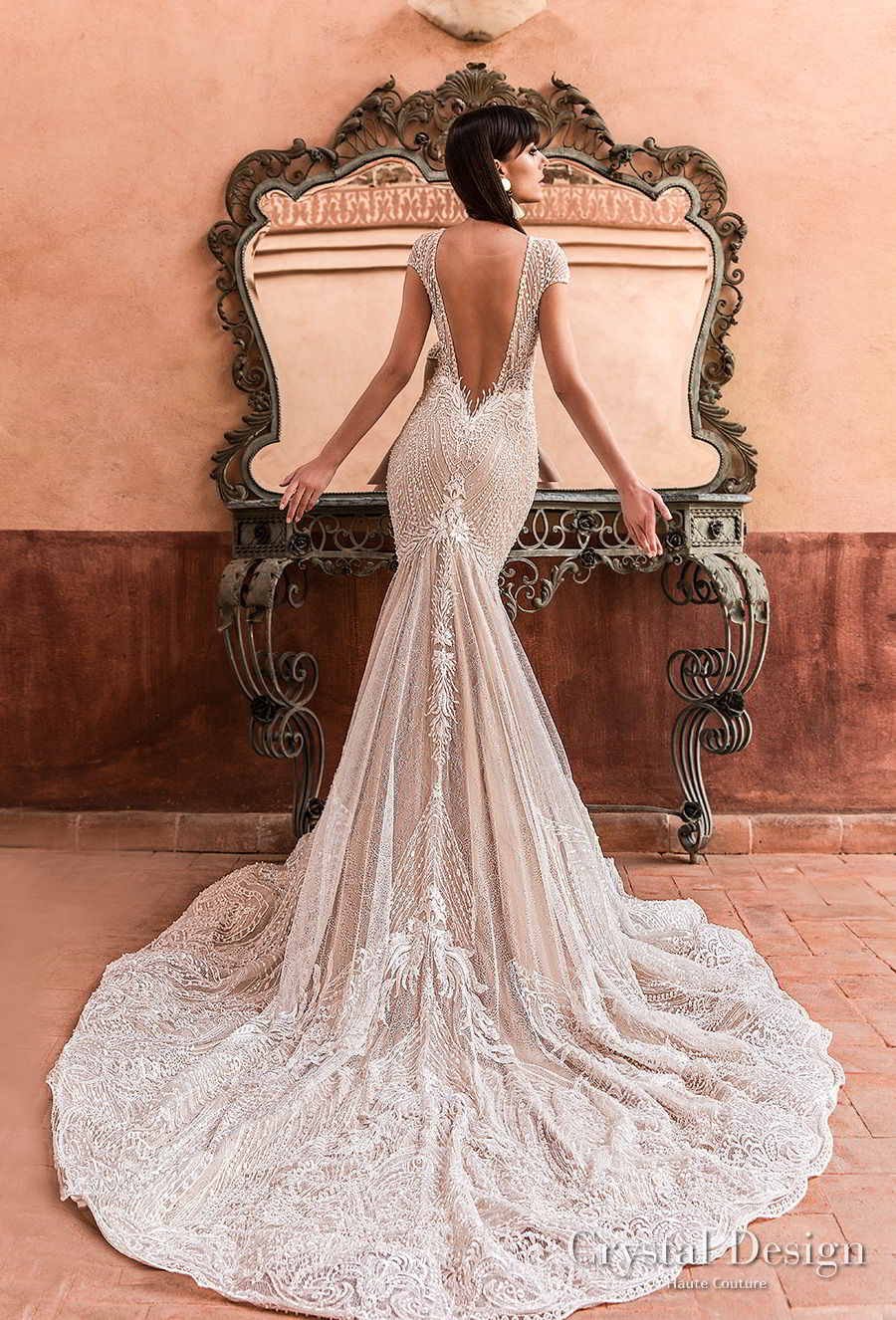 crystal design 2018 cap sleeves deep v neck full embellishment elegant trumpet wedding dress capelet open v back chapel train (liberty) bv