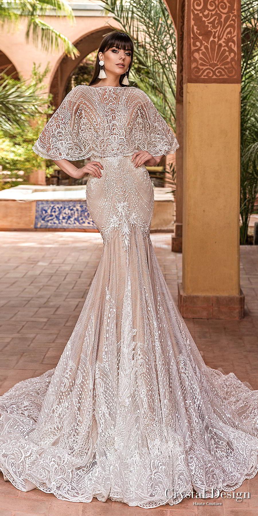 crystal design 2018 cap sleeves deep v neck full embellishment elegant trumpet wedding dress capelet open v back chapel train (liberty) mv