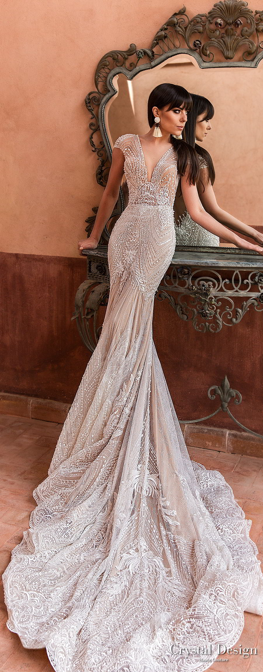 crystal design 2018 cap sleeves deep v neck full embellishment elegant trumpet wedding dress  open v back chapel train (liberty) lv
