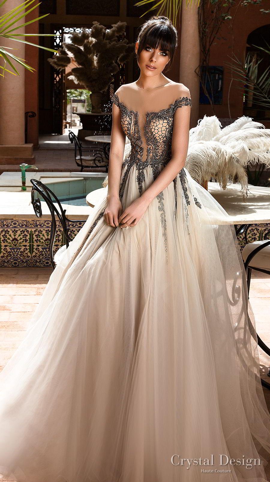 crystal design 2018 cap sleeves sheer jewel sweetheart neck black lace tulle skirt romantic a line wedding dress lace back medium train (summery) mv