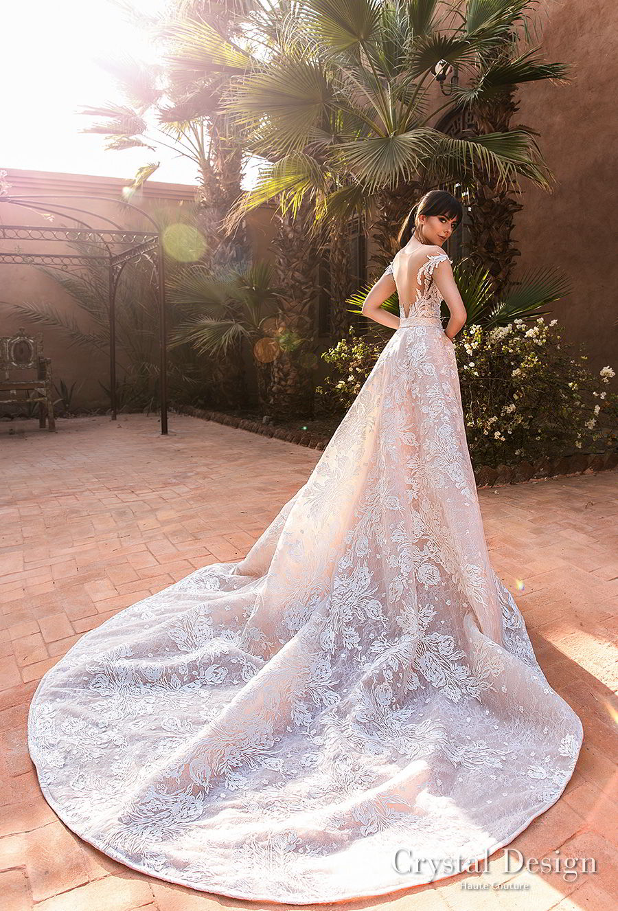 crystal design 2018 cap sleeves sweetheart neckline full embellishment princess a  line wedding dress sheer back royal train (butterfly) bv