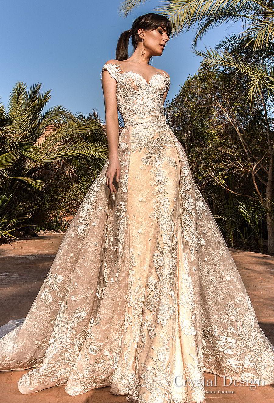 crystal design 2018 cap sleeves sweetheart neckline full embellishment princess a line wedding dress sheer back royal train (butterfly) mv