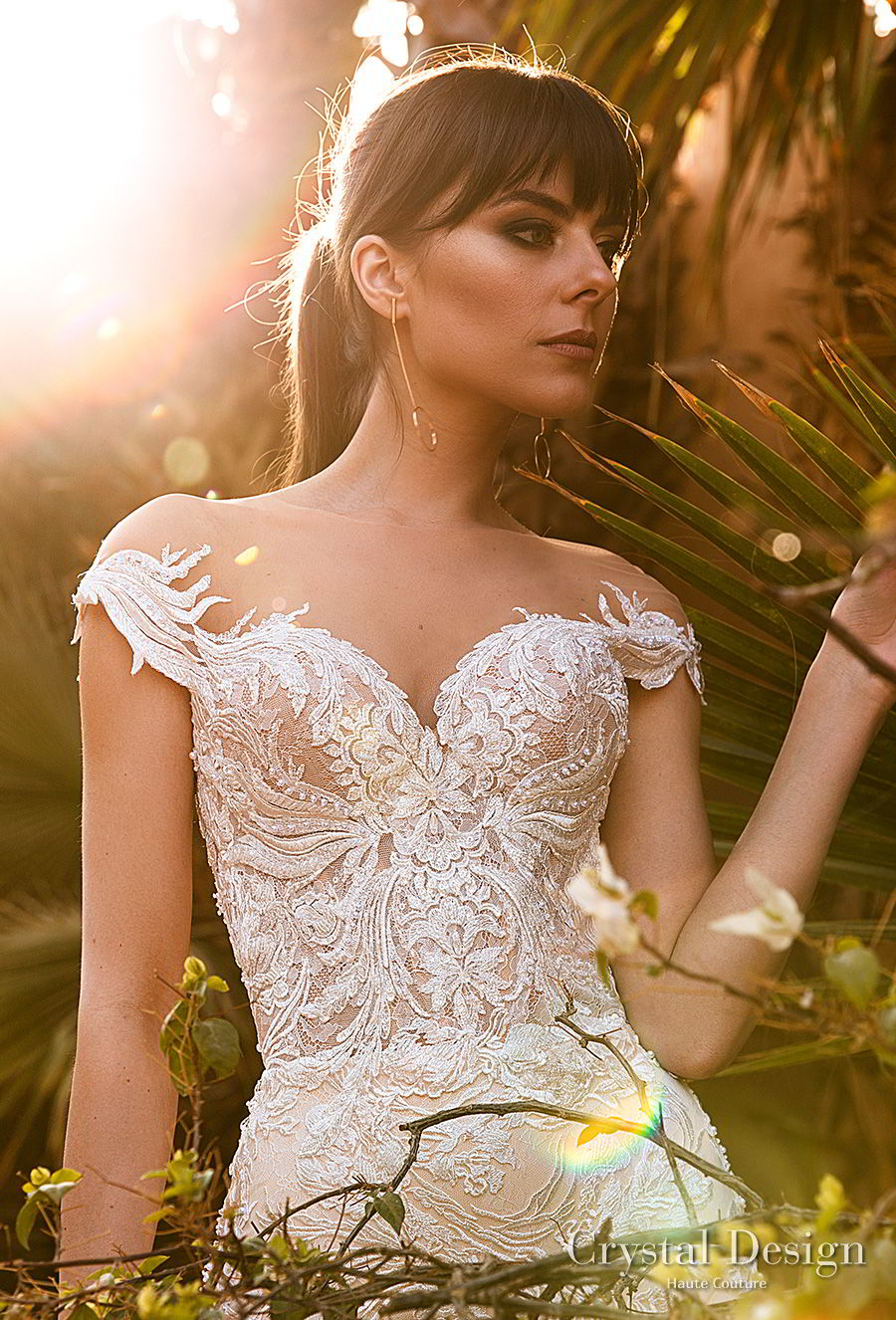 crystal design 2018 cap sleeves sweetheart neckline full embellishment princess a  line wedding dress sheer back royal train (butterfly) zv