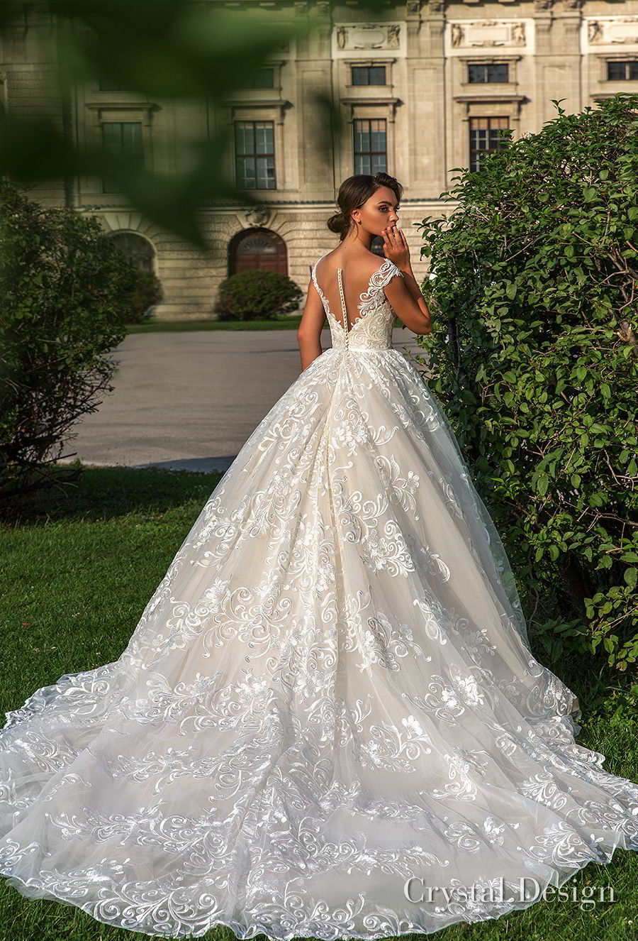 crystal design 2018 cap sleeves sweetheart neckline full embellishment romantic princess ball gown wedding dress sheer button back chapel train (steffani) bv