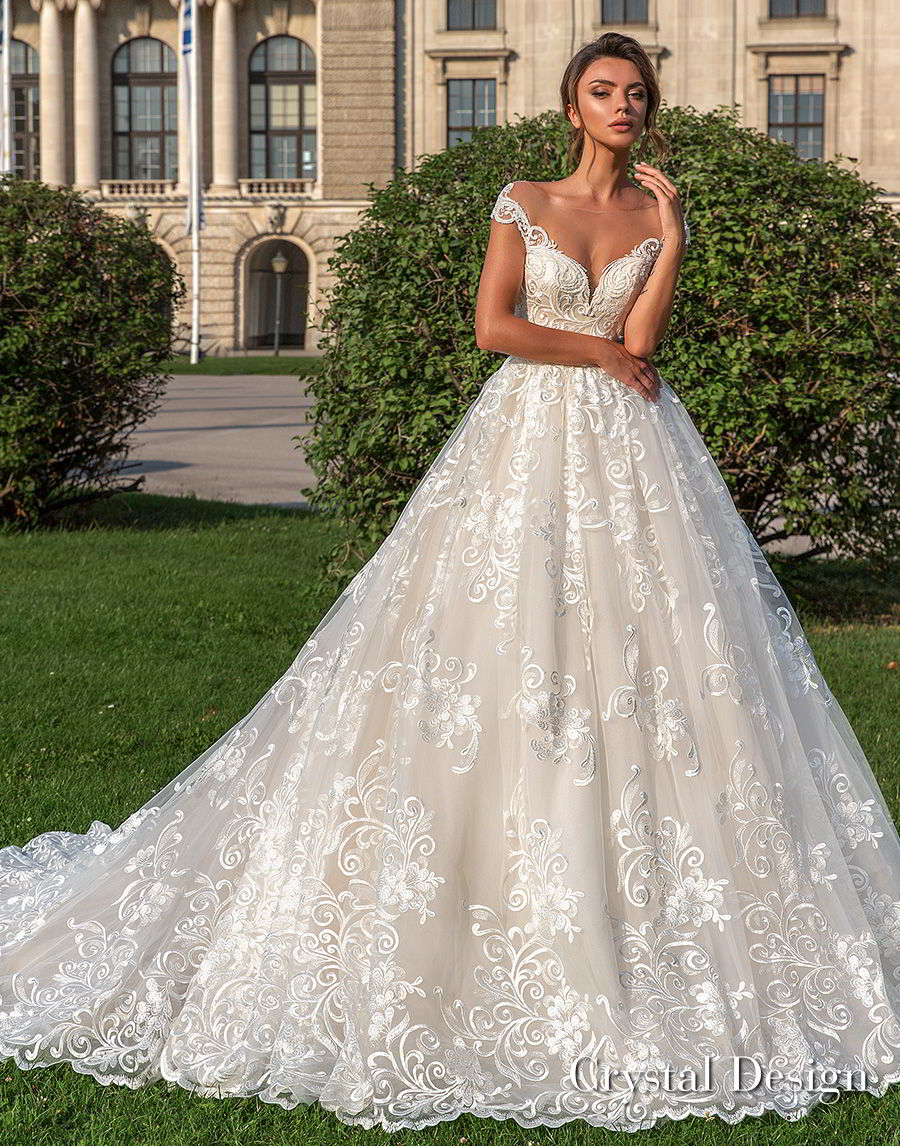 crystal design 2018 cap sleeves sweetheart neckline full embellishment romantic princess ball gown wedding dress sheer button back chapel train (steffani) mv