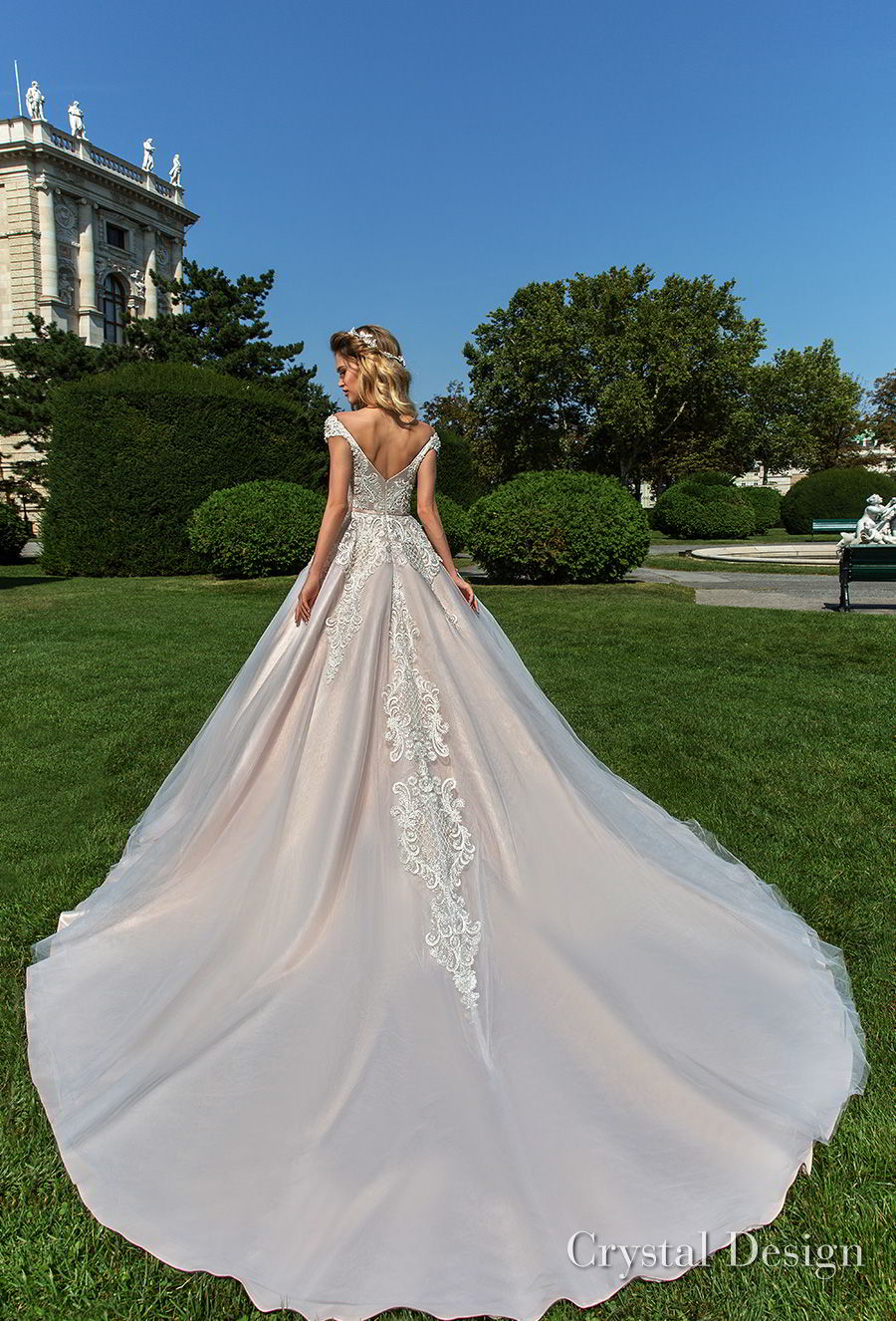 crystal design 2018 cap sleeves v neck heavily embellished bodice pink ball gown wedding dress v back royal train (anika) bv