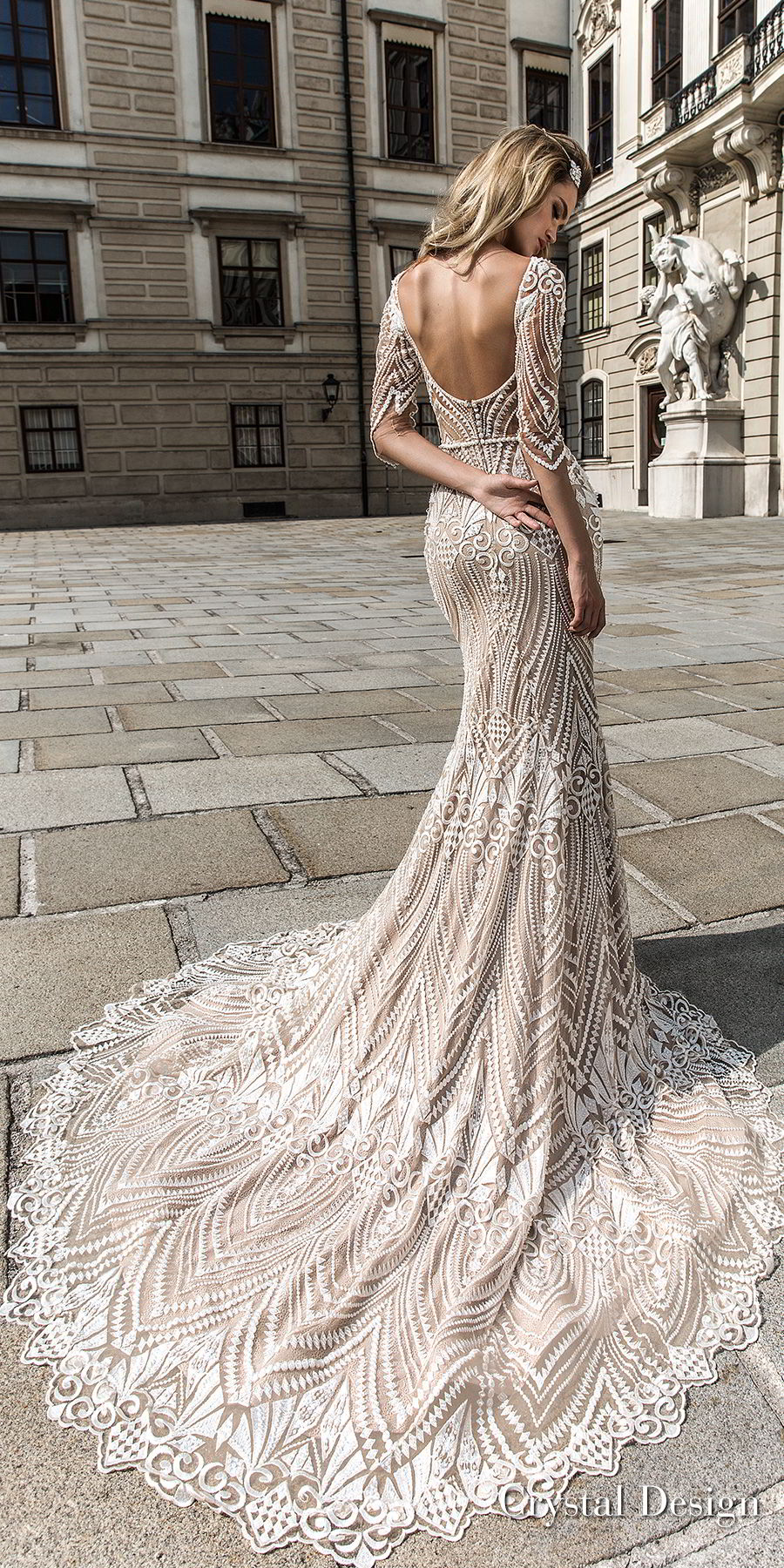 crystal design 2018 half sleeves illusion bateau sweetheart neckline full embellishment elegant fit and flare wedding dress scoop back chapel train (valery) bv