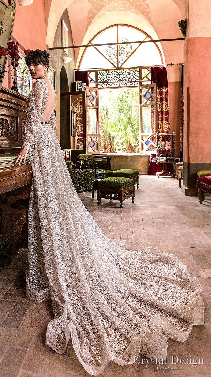 crystal design 2018 long bishop sleeves deep v neck full embellishement modern elegant modified a line wedding dress open back chapel train (bliss) bv