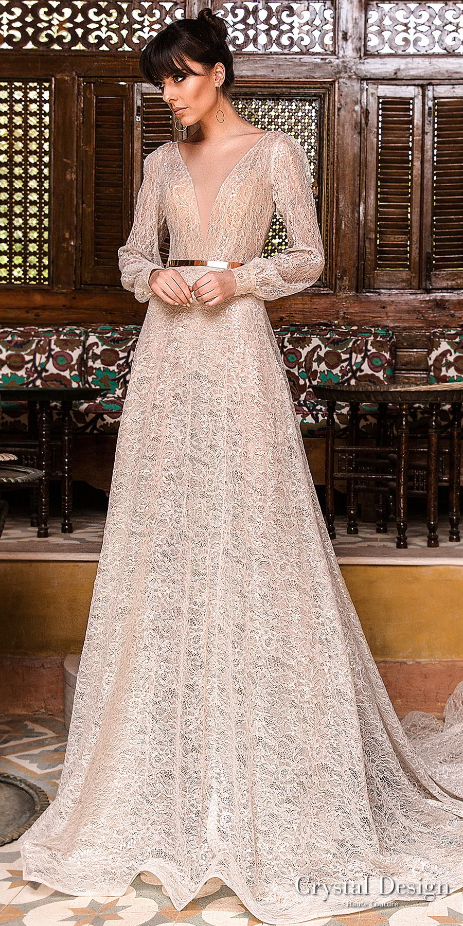 crystal design 2018 long bishop sleeves deep v neck full embellishement modern elegant modified a  line wedding dress open back chapel train (bliss) mv