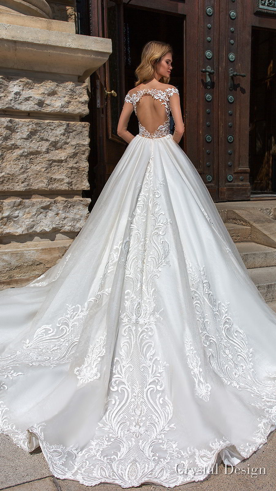 crystal design 2018 long sheer sleeves sweetheart neckline full embellishment princess a  line wedding dress keyhole back chapel train (gabriella) bv