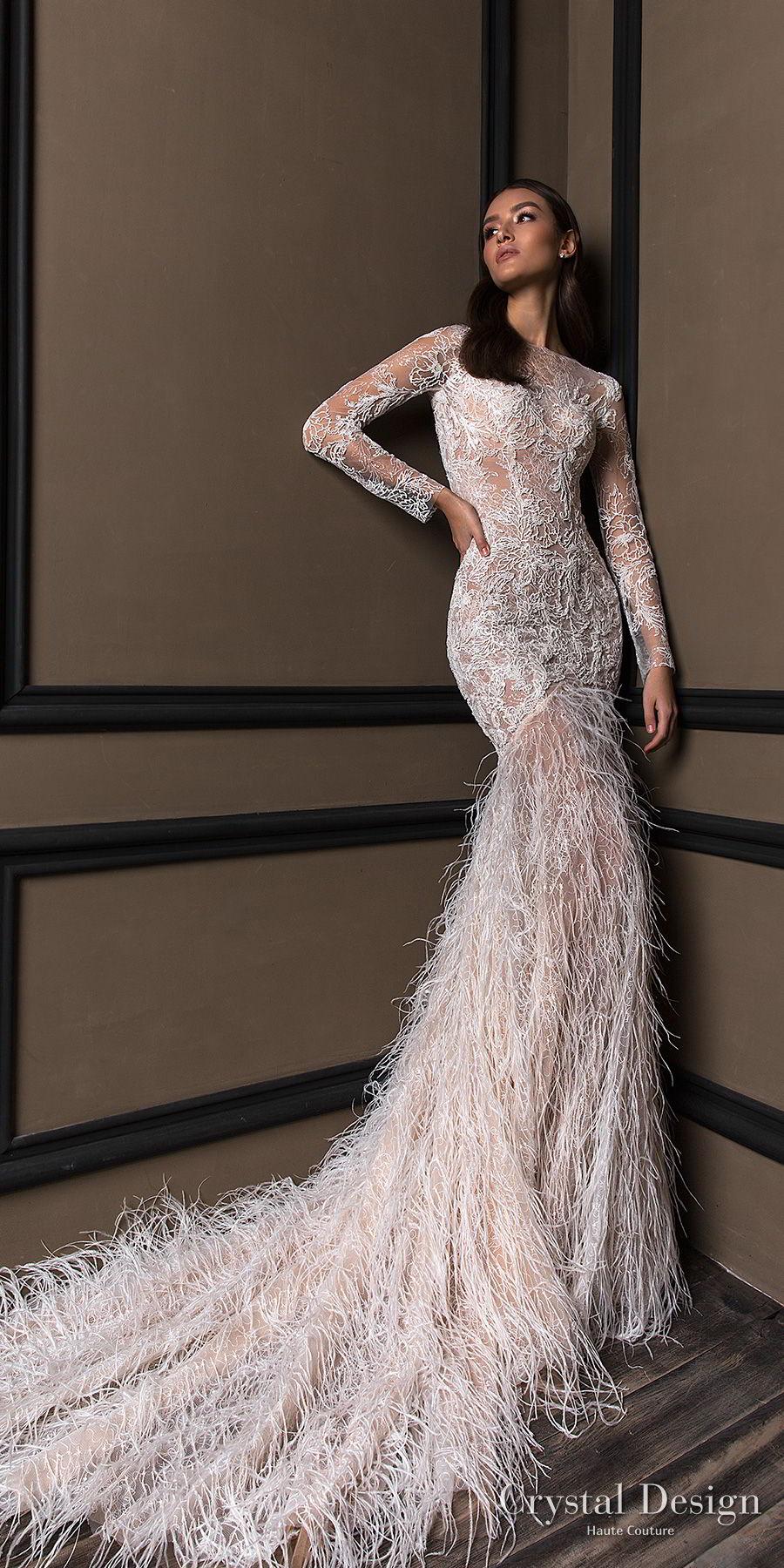 crystal design 2018 long sleeves bateau neck full embellishment finge skirt glamorous mermaid wedding dress lace back chapel train (ibbi) mv