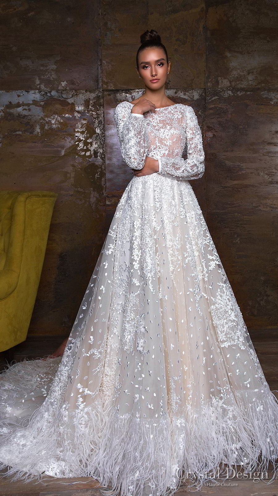 crystal design 2018 long sleeves bateau neck full embellishment modest romantic a  line wedding dress v back chapel train (kayra) mv