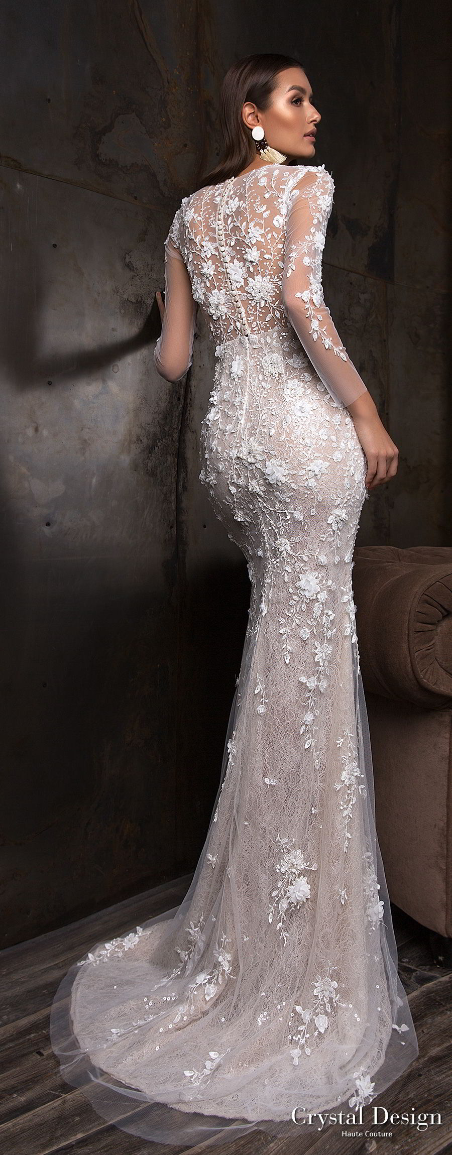 crystal design 2018 long sleeves deep plunging v neck full embellishment sexy romantic sheath wedding dress a line overskirt lace back sweep train (deli) bv