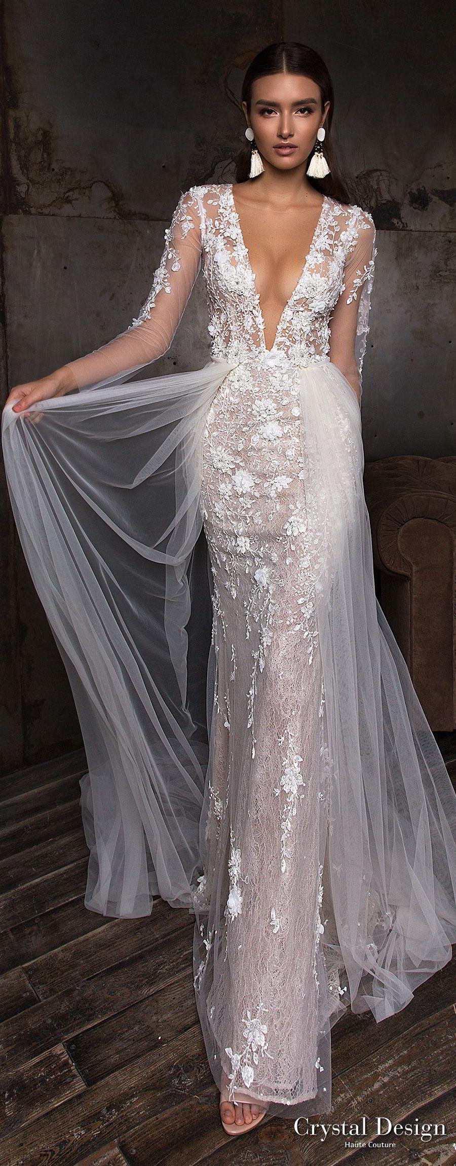 crystal design 2018 long sleeves deep plunging v neck full embellishment sexy romantic sheath wedding dress a line overskirt lace back sweep train (deli) mv