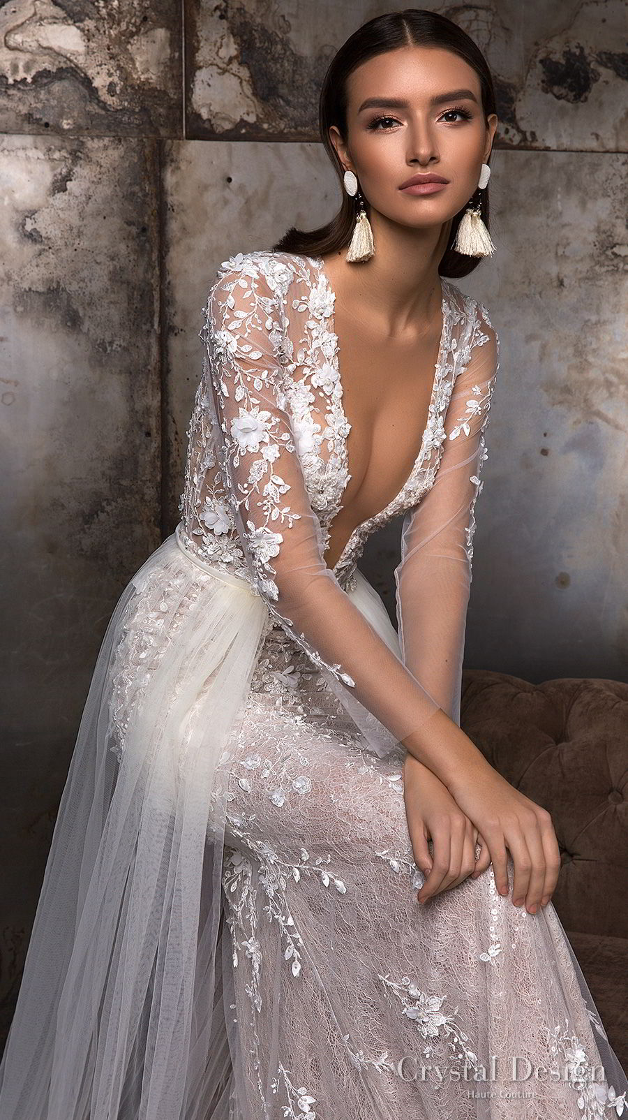 crystal design 2018 long sleeves deep plunging v neck full embellishment sexy romantic sheath wedding dress a  line overskirt lace back sweep train (deli) zv