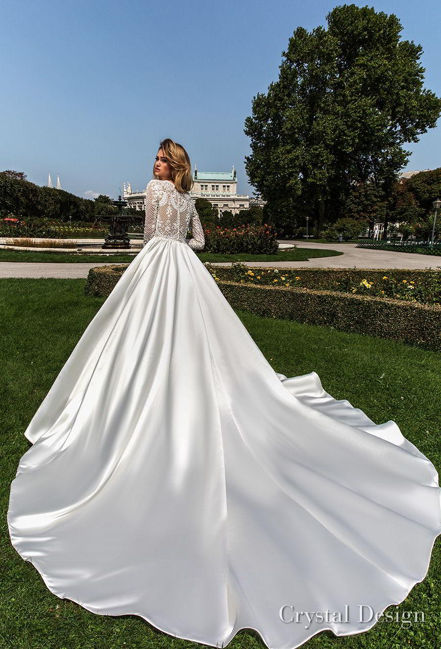 crystal design 2018 long sleeves jewel neck heavily embellished bodice satin modest a  line wedding dress covered lace back royal train (dilma) bv