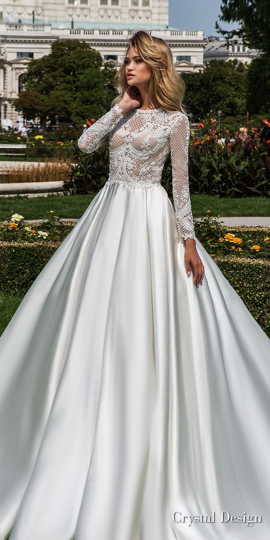 crystal design 2018 long sleeves jewel neck heavily embellished bodice satin modest a  line wedding dress covered lace back royal train (dilma) mv