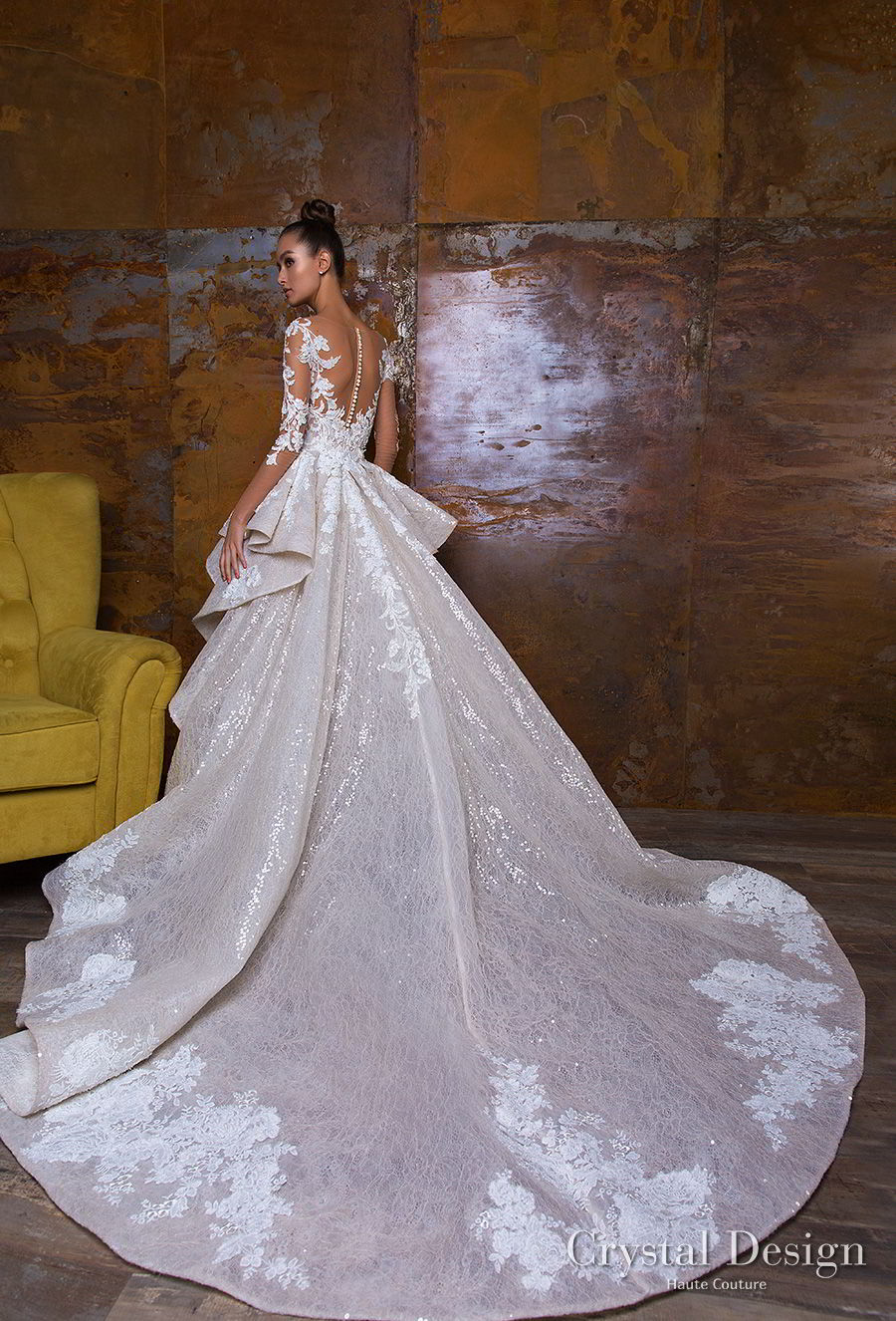 crystal design 2018 long sleeves sheer bateau sweetheart neckline full embellishment peplum princess sheath wedding dress a line overskirt sheer button royal train (nika) bv