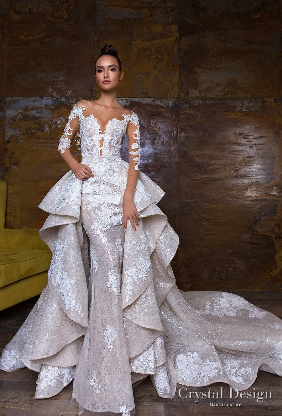 crystal design 2018 long sleeves sheer bateau sweetheart neckline full embellishment peplum princess sheath wedding dress a  line overskirt sheer button royal train (nika) mv