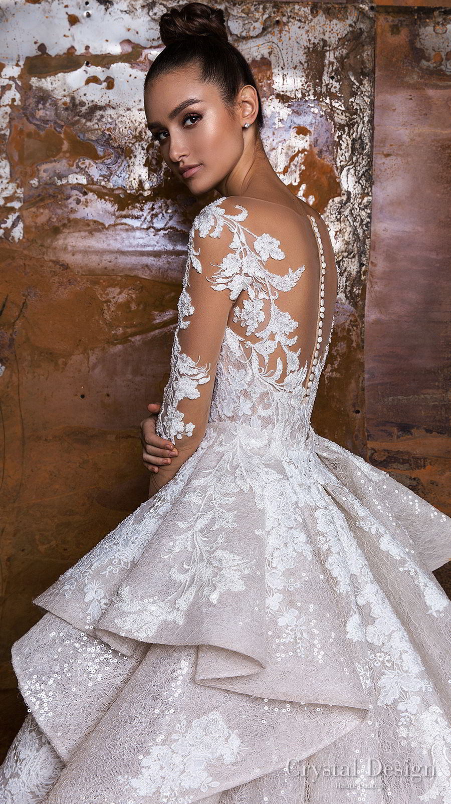 crystal design 2018 long sleeves sheer bateau sweetheart neckline full embellishment peplum princess sheath wedding dress a line overskirt sheer button royal train (nika) zbv