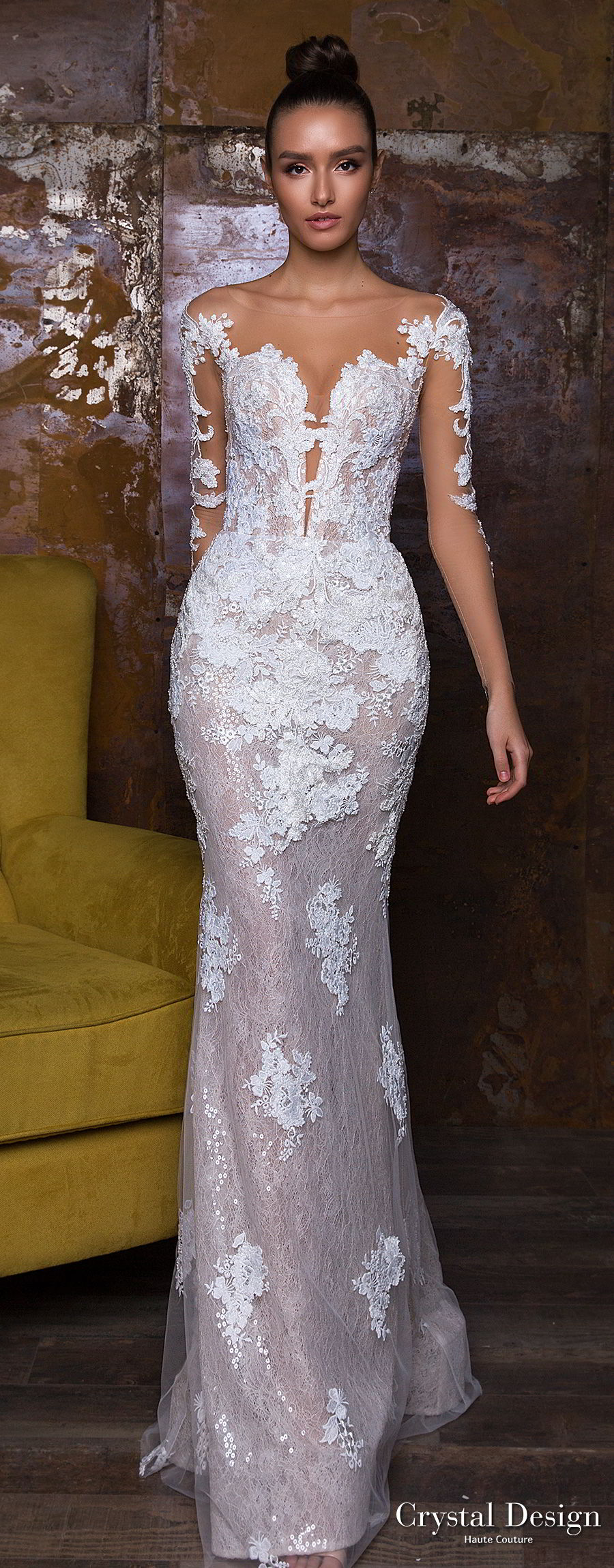 crystal design 2018 long sleeves sheer bateau sweetheart neckline full embellishment peplum princess sheath wedding dress  sheer button royal train (nika) lv