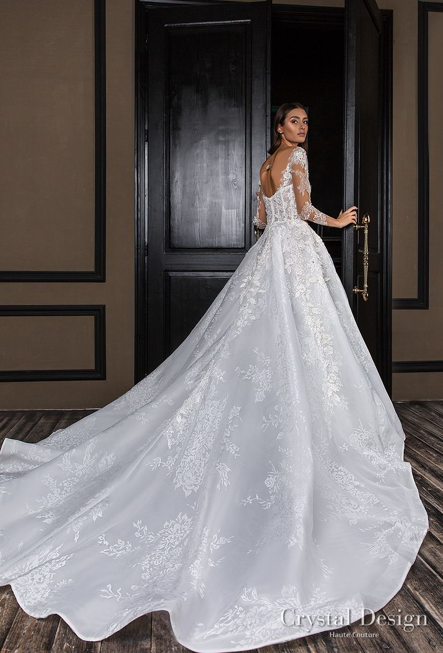 crystal design 2018 long sleeves square neck heavily embellished bodice princess a  line wedding dress royal train (asha) bv