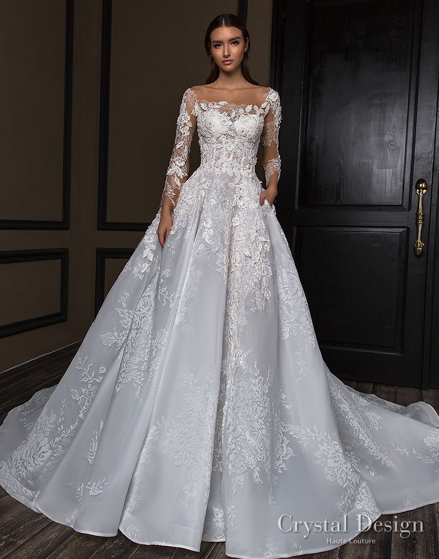 crystal design 2018 long sleeves square neck heavily embellished bodice princess a  line wedding dress royal train (asha) mv