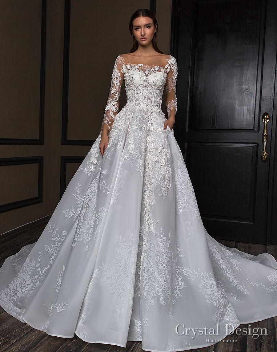 crystal design 2018 long sleeves square neck heavily embellished bodice princess a line wedding dress royal train (asha) mv