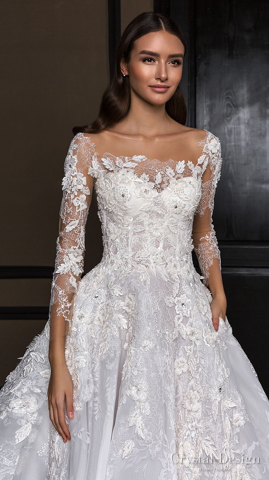 crystal design 2018 long sleeves square neck heavily embellished bodice princess a  line wedding dress royal train (asha) zv