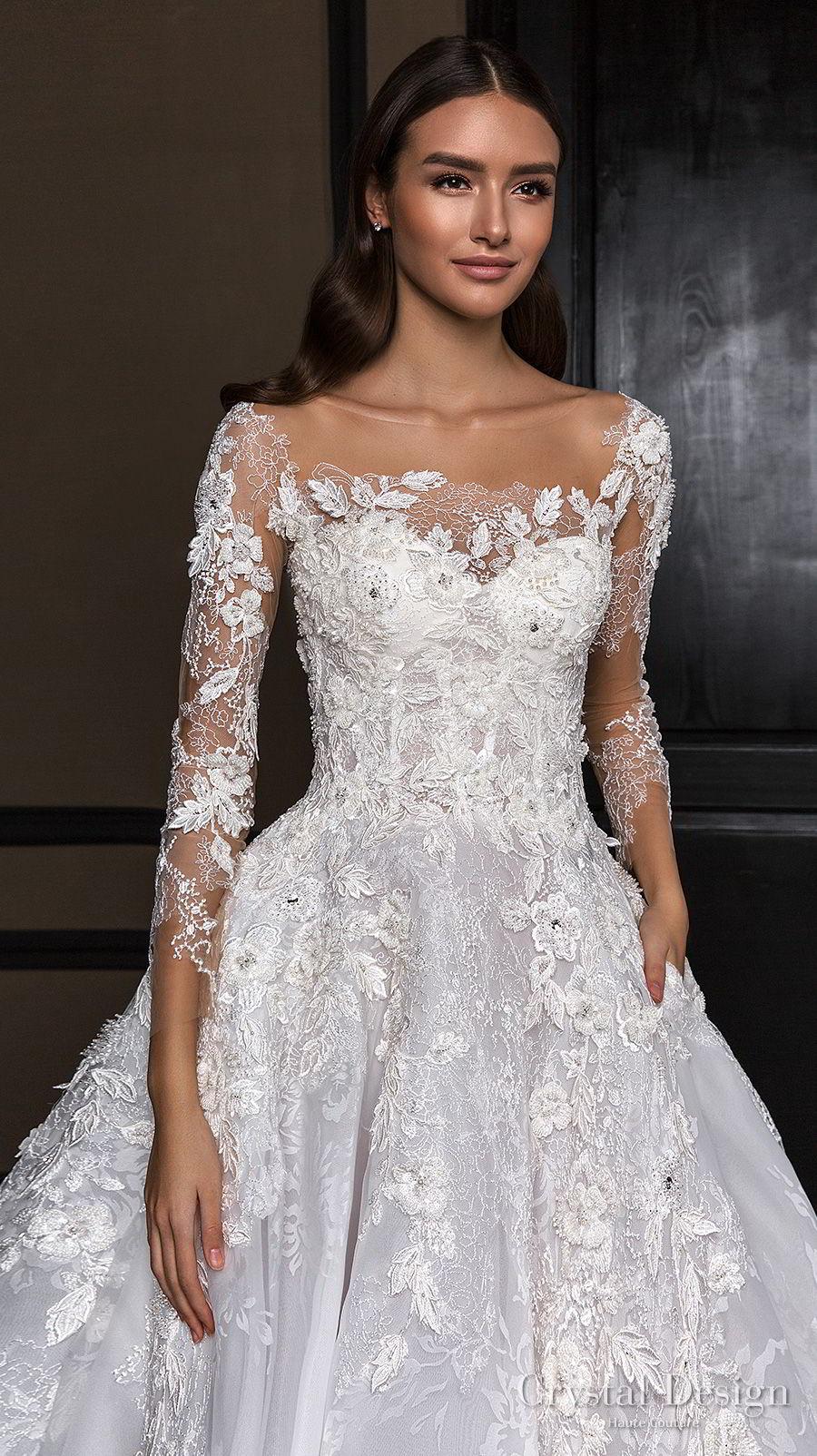 crystal design 2018 long sleeves square neck heavily embellished bodice princess a line wedding dress royal train (asha) zv