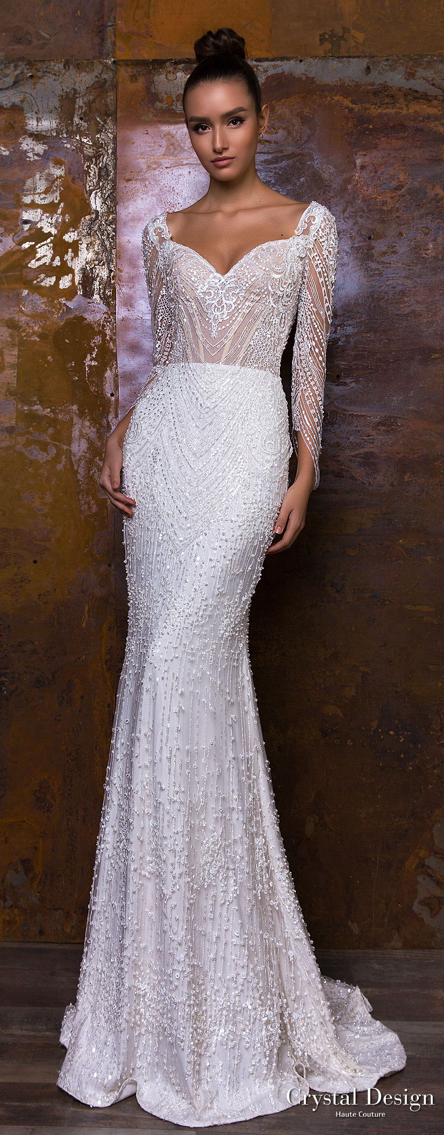 crystal design 2018 long sleeves sweetheart neckline full embellishment glamorous sheath wedding dress sweep train (penelopa) mv