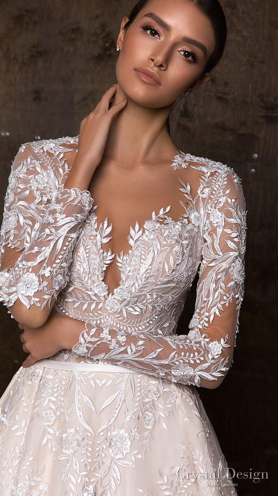 crystal design 2018 long sleeves sweetheart neckline full embellishment princess a line wedding dress keyhole back royal train (versal) zv