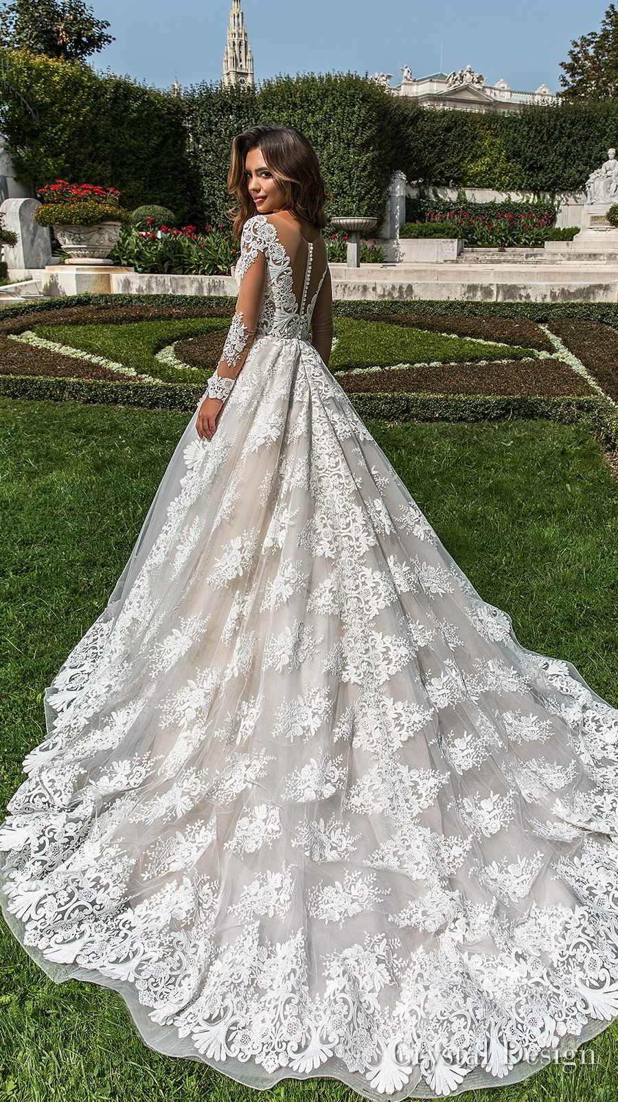 crystal design 2018 long sleeves v neck full embellishment princess a  line wedding dress sheer button back chapel train (britta) bv