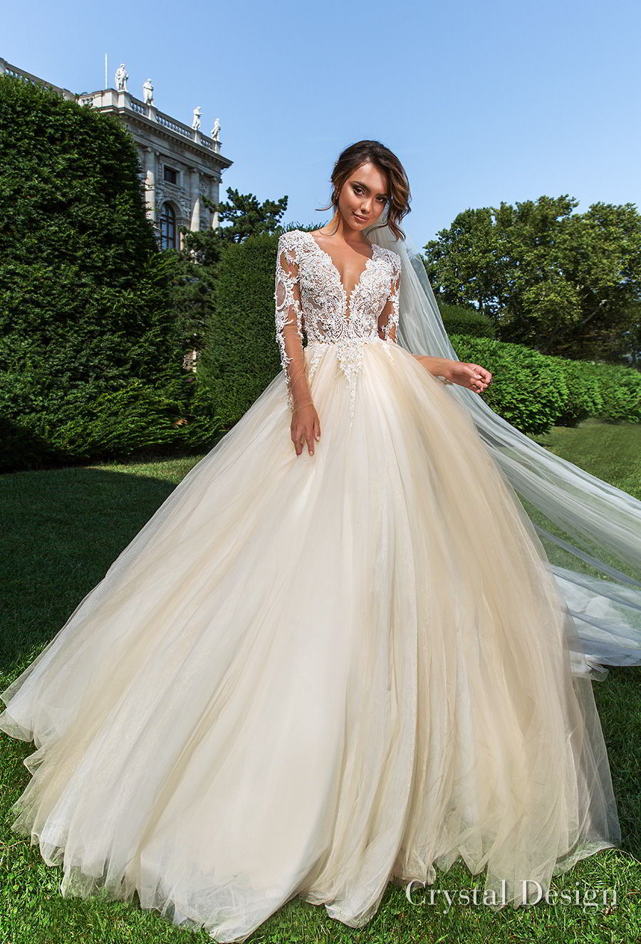 crystal design 2018 long sleeves v neck heavily embellished bodice romantic ivory ball gown wedding dress sheer button back long train (belle) mv