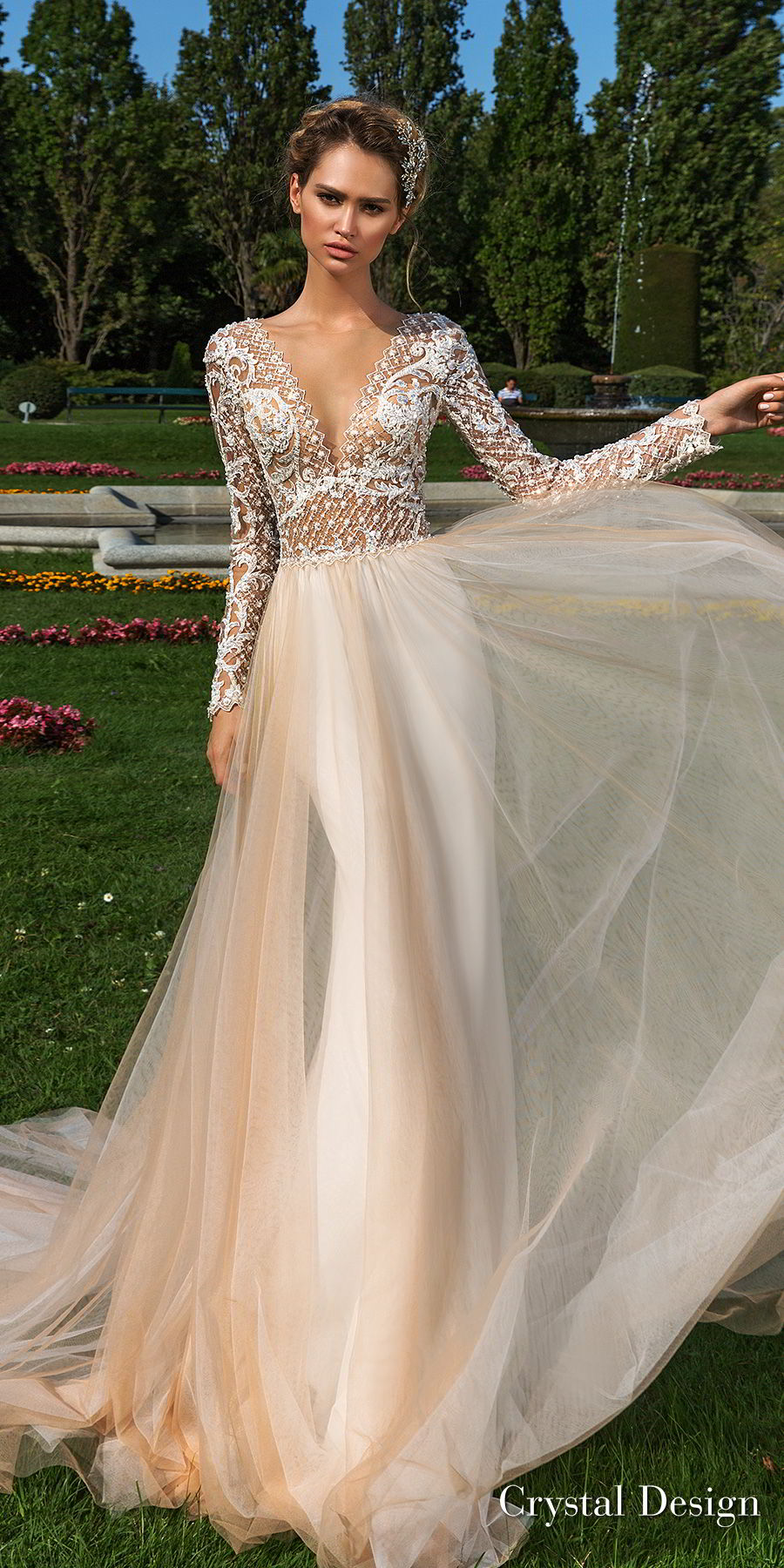 crystal design 2018 long sleeves v neck heavily embellished bodice tulle skirt romantic champagne color soft a  line wedding dress sheer button back chapel train (hadlee) mv