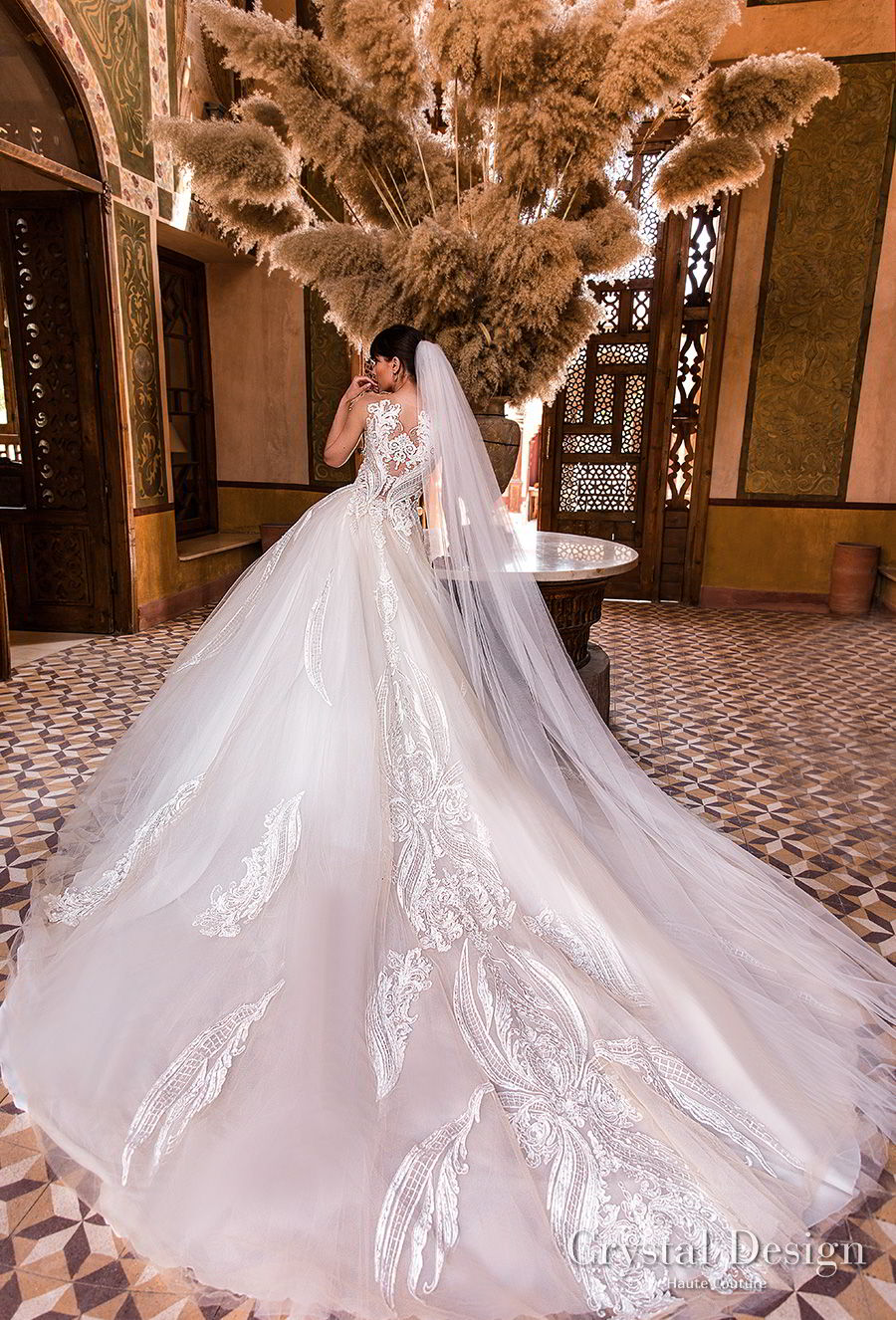 crystal design 2018 off the shoulder scoop neck heavily embellished bodice princess ball gown wedding dress lace back royal train (sushine) bv