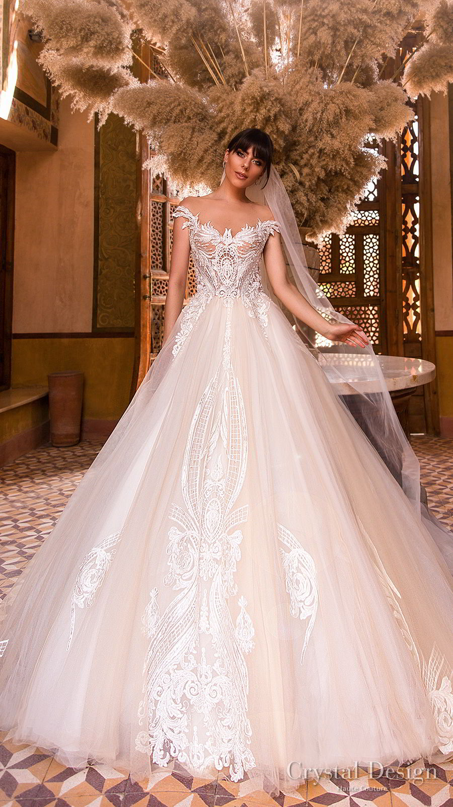 crystal design 2018 off the shoulder scoop neck heavily embellished bodice princess ball gown wedding dress lace back royal train (sushine) mv