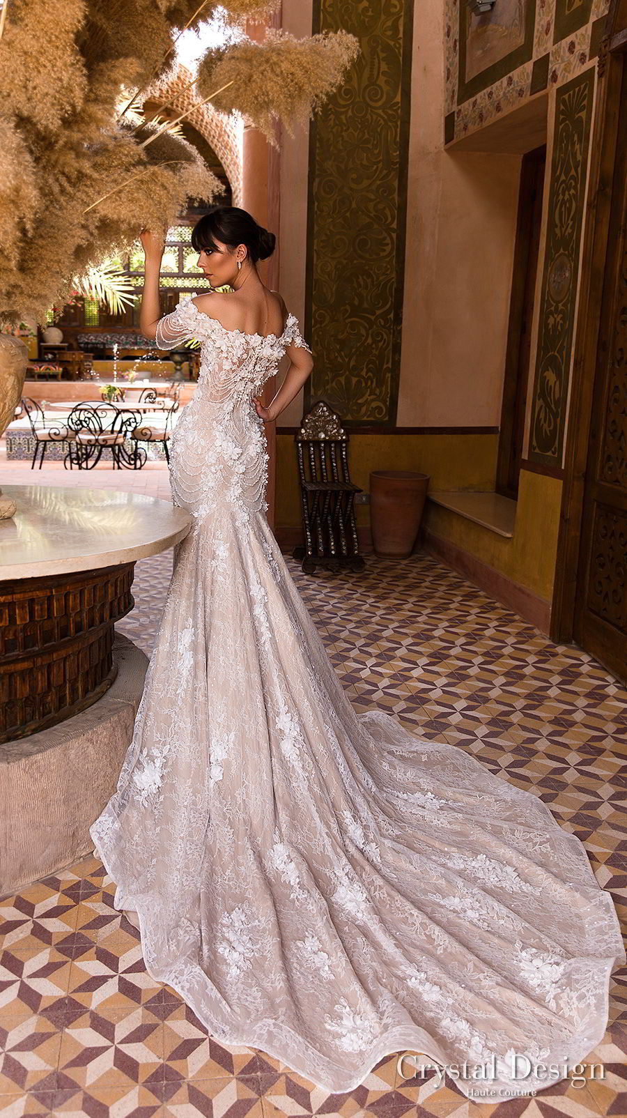 crystal design 2018 off the shoulder straight across neck full embellishment romantic fit and flare wedding dress chapel train (grace) bv