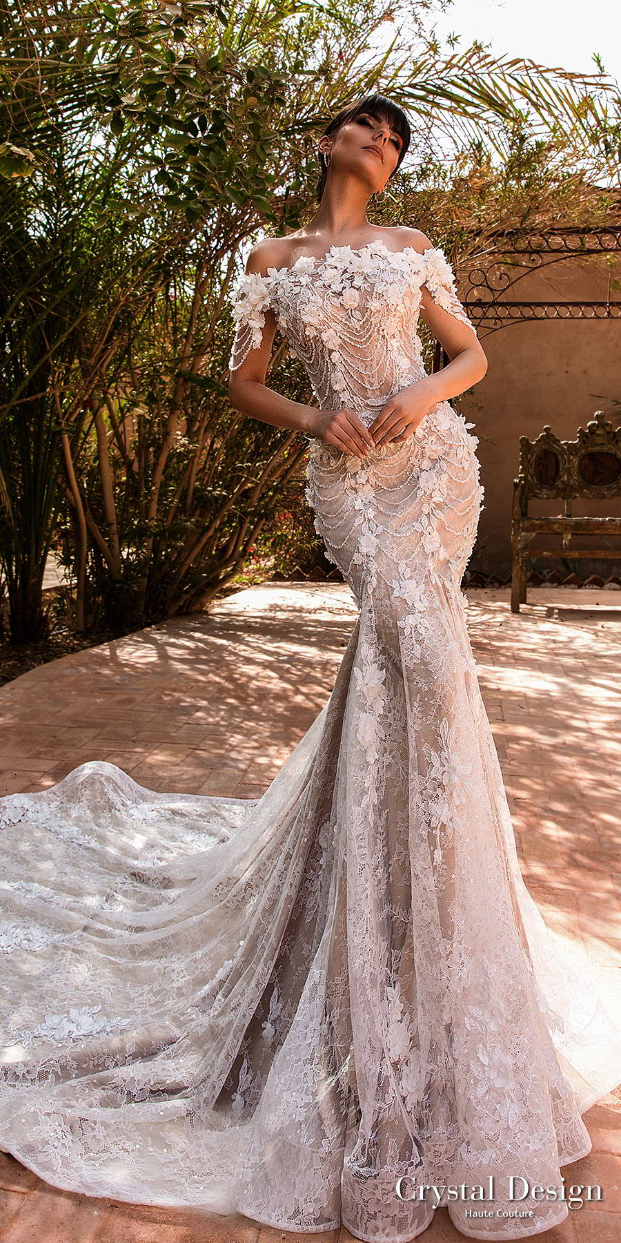 crystal design 2018 off the shoulder straight across neck full embellishment romantic fit and flare wedding dress chapel train (grace) mv